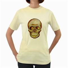 Warm Skull  Womens  T-shirt (Yellow)