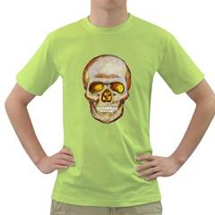 Warm Skull Mens  T-shirt (Green)