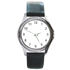 Your Logo Here Round Leather Watch (Silver Rim)