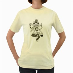 mechanical  Ganesha  Womens  T-shirt (Yellow)