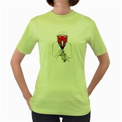 Devil Face Womens  T Shirt (green)