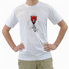 Devil Face Mens  T Shirt (white)