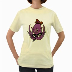 Oswald the Squid   Womens  T-shirt (Yellow)