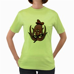 Oswald the Squid  Womens  T-shirt (Green)