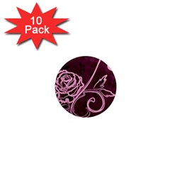 Rose 1  Mini Button Magnet (10 pack)