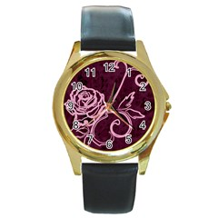 Rose Round Leather Watch (gold Rim)