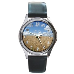 Gettysburg 1 068 Round Leather Watch (silver Rim)