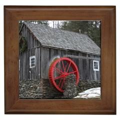 Vermont Christmas Barn Framed Ceramic Tile