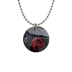 Vermont Christmas Barn Button Necklace