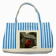 Vermont Christmas Barn Blue Striped Tote Bag