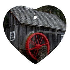 Vermont Christmas Barn Heart Ornament (Two Sides)