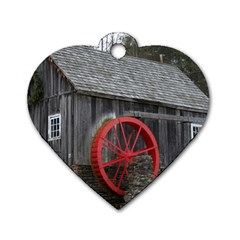 Vermont Christmas Barn Dog Tag Heart (two Sided)