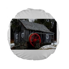 Vermont Christmas Barn 15  Premium Round Cushion