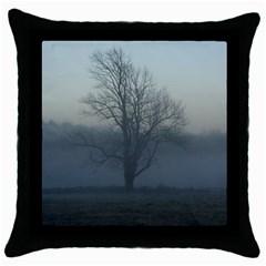 Foggy Tree Black Throw Pillow Case
