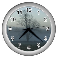 Foggy Tree Wall Clock (Silver)