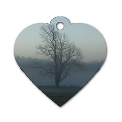 Foggy Tree Dog Tag Heart (one Sided)