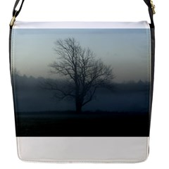 Foggy Tree Flap Closure Messenger Bag (small)