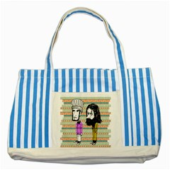The Cheeky Buddies Striped Blue Tote Bag