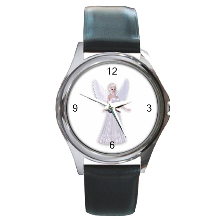 Beautiful fairy nymph faerie fairytale Round Leather Watch (Silver Rim)