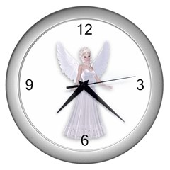Beautiful fairy nymph faerie fairytale Wall Clock (Silver)