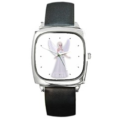 Beautiful Fairy Nymph Faerie Fairytale Square Leather Watch