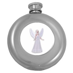 Beautiful fairy nymph faerie fairytale Hip Flask (Round)