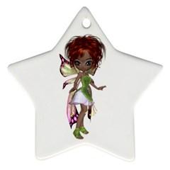 Fairy magic faerie in a dress Star Ornament