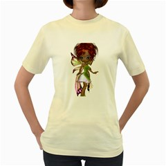 Fairy magic faerie in a dress  Womens  T-shirt (Yellow)
