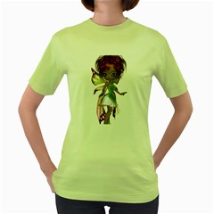 Fairy magic faerie in a dress Womens  T-shirt (Green)
