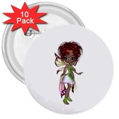 Fairy Magic Faerie In A Dress 3  Button (10 Pack)