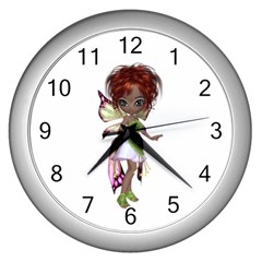Fairy magic faerie in a dress Wall Clock (Silver)