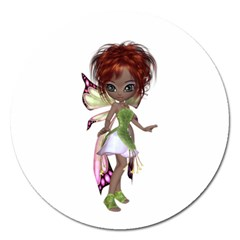 Fairy magic faerie in a dress Magnet 5  (Round)