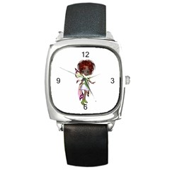 Fairy magic faerie in a dress Square Leather Watch