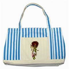 Fairy Magic Faerie In A Dress Blue Striped Tote Bag