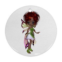 Fairy Magic Faerie In A Dress Round Ornament (two Sides)