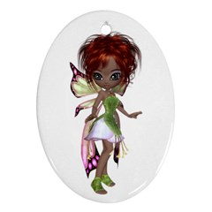 Fairy Magic Faerie In A Dress Oval Ornament (two Sides)