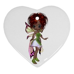 Fairy Magic Faerie In A Dress Heart Ornament (two Sides)