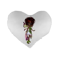 Fairy Magic Faerie In A Dress 16  Premium Heart Shape Cushion