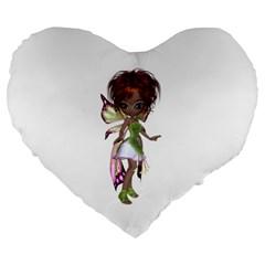 Fairy Magic Faerie In A Dress 19  Premium Heart Shape Cushion
