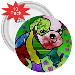 Pug 3  Button (10 pack)