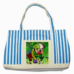 Pug Blue Striped Tote Bag