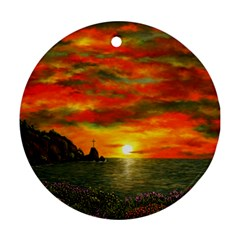 Alyssa s Sunset by Ave Hurley ArtRevu - Ornament (Round)