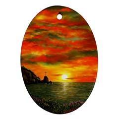 Alyssa s Sunset by Ave Hurley ArtRevu - Ornament (Oval)