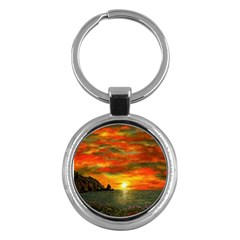 Alyssa s Sunset By Ave Hurley Artrevu   Key Chain (round)