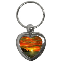 Alyssa s Sunset by Ave Hurley ArtRevu - Key Chain (Heart)