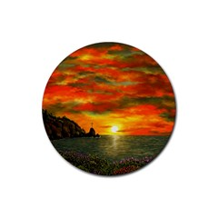Alyssa s Sunset by Ave Hurley ArtRevu - Rubber Round Coaster (4 pack)