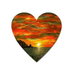 Alyssa s Sunset By Ave Hurley Artrevu   Magnet (heart)