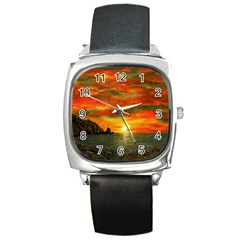 Alyssa s Sunset by Ave Hurley ArtRevu - Square Metal Watch