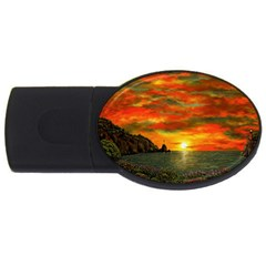 Alyssa s Sunset by Ave Hurley ArtRevu - USB Flash Drive Oval (4 GB)