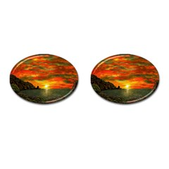 Alyssa s Sunset By Ave Hurley Artrevu   Cufflinks (oval)